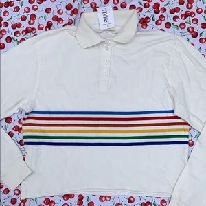 Brandy Melville Rainbow Stripe Polo Tee